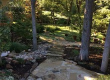 Flagstone Steps Pathway Woodland Landscape Dry Creek Bed