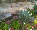 Flagstone patio and boulders